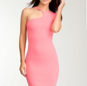 BEBE one shoulder pink bodycon dress xs